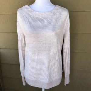 Athleta Studio Striped Boat Neck Sweater Size M